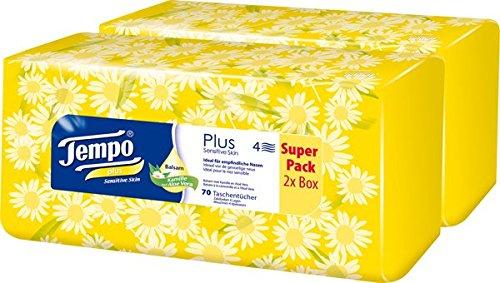 Tempo Taschentücher Plus Duo-Box, 4-lagige Tempos in praktischer Tücherbox mit tollem Design, 12 x 70 Tücher (840 Tücher)