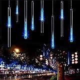 AveyLum LED Lichterkette 30cm Meteorschauer 8 Röhren 144 LEDs 100V-240V Deko Leuchten LED Außenbeleuchtung für Außen Garten Bäume Weihnachten Dekoration EU Stecker (Blau)