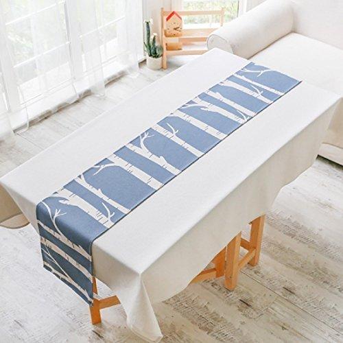 Chemin de Table Motif de Tronc d'arbre Style Nordique Décoration de Table Lin et Coton Bleu Blanc 32x190 cm