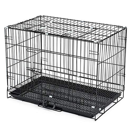 SuRose Faltbare Haustier-Kisten für kleine Hunde mit Teiler und Behälter, schwarzes Metall, bewegliches Haustier-Haus für im Freien (Größe: König 91 * 57 * 67cm)