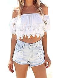 Malloom® moda mujer bohemio encaje blanco blusa off-hombro camiseta tops (S)