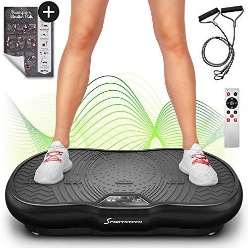 Plateforme vibrante VP200 technologie oscillation Bluetooth, Affiche incluse, sangles cordes de traction télécommande, haut-parleurs intégrés plateforme oscillatoire + Massage & Ebook (Noire)