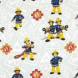 Stoffe Werning Baumwollstoff Feuerwehrmann Sam Elli & Elvis Kinderstoffe TV Serie Öko-Tex - Preis Gilt für 0,5 Meter