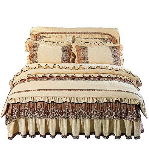 ACHENGF Bettwäsche Verdickung warme, Gesteppte Samtüberzug aus SAMT, Bettrock, vierteilige Fale-Bettdecke, 1,8 m -