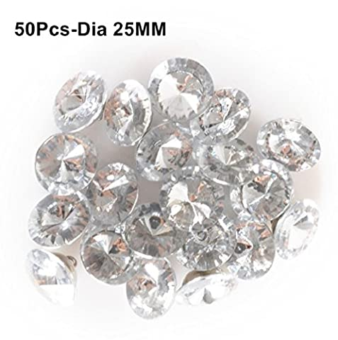 Reelva Clear Faceted Crystal DIAMOND EFFECT Buttons Pack of 50