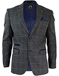 Veste blazer hommes gris bleu velours fit Vintage tweed chevrons carreaux