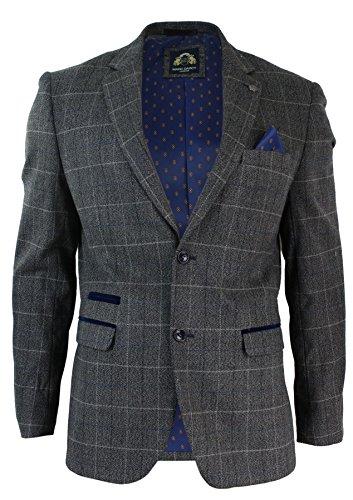 Herrensakko Vintage Design Grau Fischgräte Tweed Blau Samt Optik Trimm
