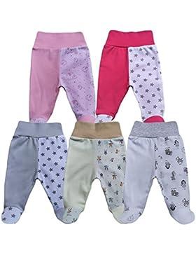 MEA BABY Unisex Baby Hose mit Fuß Baby Strampelhose mit Fuß 5er Pack. Baby Hose mit fuß Mädchen Baby Hose mit...