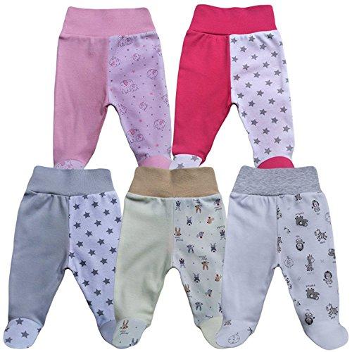 f53d9ce3fe MEA BABY Unisex Baby Hose mit Fuß Baby Strampelhose mit Fuß 5er Pack. Baby  Hose