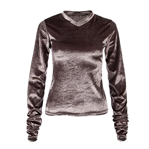 Women Fashion Velvet Tops Long Sleeve Shirt Blouse Tops Sweatshirt Coat Coffee Hot Pink Purple Sleeves Off The Shoulder Dressing Plus Size Workwear Girls Travel Bag Formal Hangers Saving Pants