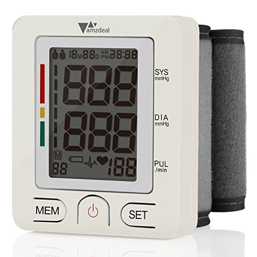 Amzdeal Blutdruckmessgerät - Handgelenkblutdruckmessgerät Vollautomatische Professionelle Blutdruk- und Pulsmessung Großer LCD-Display 2 * 90 Speicher