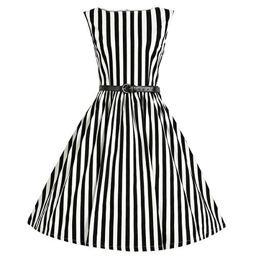 E-Girl M124618D Robe de bal Vintage pin-up 50's Rockabilly robe de soirée cocktail,S-XXXXL Noir