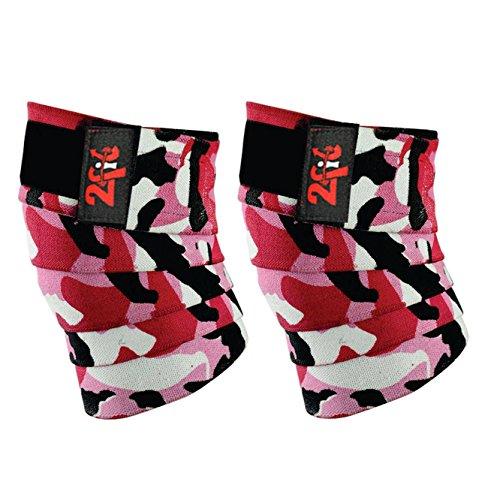 2Fit - Vendas elásticas de rodilla para levantamiento de peso, entrenamiento de gimnasio y bodybuilding brace, rodilleras unisex