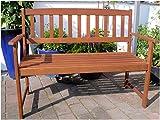 Holz massiv Garten Bank 2-Sitzer FSC Eukalyptus 120 cm Parkbank Sitzbank