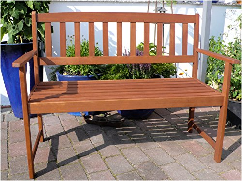 Holz massiv Garten Bank 2-Sitzer