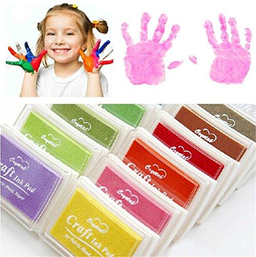 Stempel Tinte,Stempelkissen Set,Stempelkissen Stempel für Papier Handwerk Stoff Fingerabdruck Scrapbook Malerei 12 Farben Schreibwaren Geschenke für Kinder