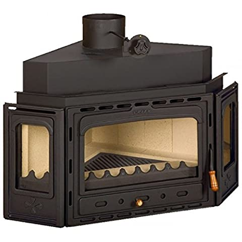 Wood burning fireplace insert Prity, Model ATC, Heat output 14kW, Angled, Panoramic, Cast iron door