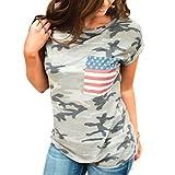 feiXIANG Mode Frauen Damen Kurze ärmel t - Shirt mit Tasche Bluse Tarn Hemd (M, Z/Grau)