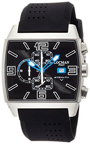 Locman Herren Stealth Video/Uhr/Zifferblatt schwarz/Gehäuse Stahl und Titan/Armband Silikon Schwarz
