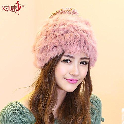 BTBTAV*Kaninchen Kammgarn Hüte upscale Kaninchen Haar Strickkleid HERBST WINTER HAT aus warmen Trend , (Spiel Wunderland Up Alice Dress Im)