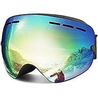 Skibrille, Winter Sport Outdoor über Gläser Snowboardbrillen mit Anti-Nebel UV400 Schutz Anti-Fog Windwiderstand Austauschbare Frameless Sphärische Linse Ski Gläser Skifahren(Gold)