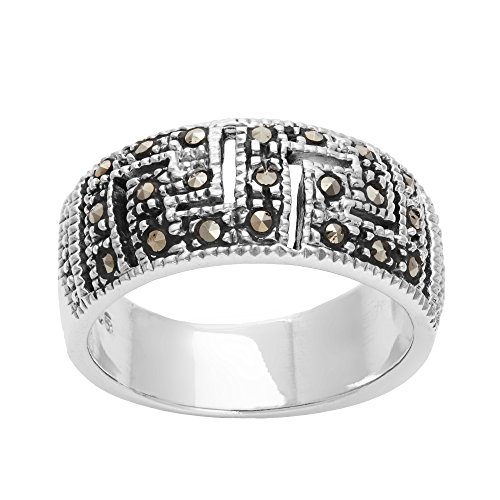 Silverly Frauen 925 Sterling Silber Markasit Simulierte Oxidiertes Griechisch Key Cut Out Band Ring