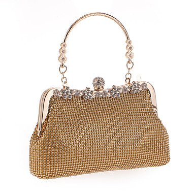 Woman Fashion Diamanten Blume Abend Tasche Gold