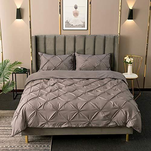 YUNSW Set Weiß Bettbezug Zange Falten Einfarbig Doppel Königin King Size Sets Heimgebrauch D 180x210 cm -