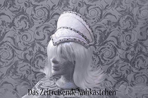 Samt Tiara (Elizabethanischer Kopfschmuck, French Hood, Renaissance, weiß)