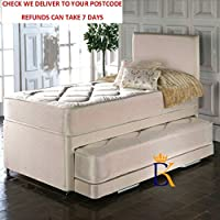 CustomBeds SINGLE DIVAN 3IN1 GUEST BED WITH MATTRESS PULLOUT TRUNDLE + FREE HEADBOARD (Cream)