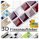 Grandora 7 Piezas Set 25,3 x 3,7 cm Rojo Beige Plateado Etiqueta Adhesiva para baldosas Design 2 I Pegatina Mosaic 3D Sticker Cocina Baño Azulejos y B