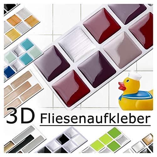 7 piezas Set 25,3 x 3,7 cm rojo beige plateado etiqueta adhesiva para baldosas Design 2 I Pegatina Mosaic 3D Sticker Cocina Baño Azulejos y Baldosas Decoracion autoadhesivo Grandora W5288
