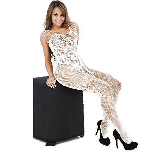 CLOCOLOR Damen Unterwäschen Netz Bodystockings Bodysuit Nachtwäsche Dessous Offen im Schritt Weiß Onesize