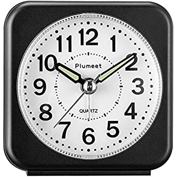 Ascending Alarm Battery Operated Plumeet Small Size Travel Alarm Clock with Snooze and Light Black1 Beep Sounds Silent with No Ticking Analog Quartz Gentle Wake