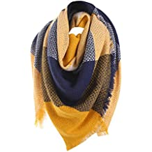 d42334a0752 Tefamore Femmes Echarpe foulards longue de cou de châle de laine de  cachemire de point coloré