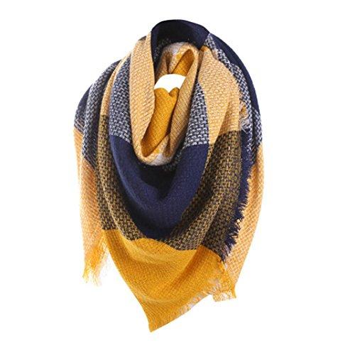 foulards , Tefamore Femmes Écharpe longue de cou de châle de laine de cachemire de point coloré (140*135cm, Jaune)