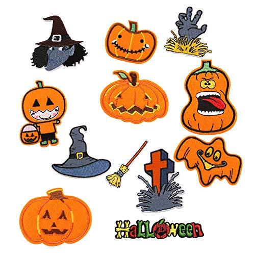 Chytaii Flicken zum Aufbügeln, Halloween, Aufnäher, Bestickt, selbstklebend, Form Kürbis süß, Verschiedene Motive, Dekoration, schöne Kleidung, Kinderkleidung, Nähzubehör, DIY 12 ()