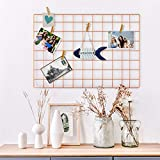 Oucles Multifonctionnel Maille métallique Grille Panneau décoratif Fer Rack Clip Photo Décoration Murale à Suspendre Tableau Mural, INS Art écran Photo Murale, 65 x 45 cm (Or Rose)