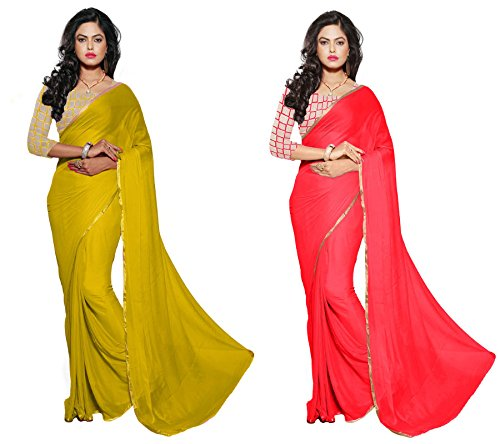 RoopSangam Exclusive Combo Pack Of 2 Sarees With Net Blouse And Fancy Border (Red & Yellow)