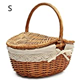 Handgemachte Weidenkorb Wicker Camping Picknick Korb Shopping Storage Hamper mit Deckel und Griff aus Holz Farbe Wicker Picknickkorb