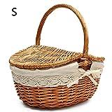 Yunn Handgefertigte Korb Picknick-Korb, SAVEY Shopping Storage Korb mit Deckel und Griff aus Holz Farbe und Kaffee Farbe Wicker Picknick-Korb