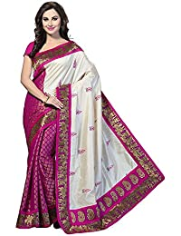 Aaina Pink & Beige Bhagalpuri Silk Printed Saree With Blouse
