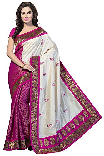 Aaina Pink & Beige Bhagalpuri Silk Printed Saree with Blouse  available at amazon for Rs.349