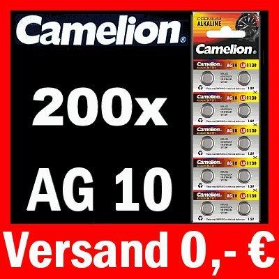 200 x PILES bOUTON hAUTE qUALITÉ aG10 lR54 389 gP62A sR1130W cAMELION