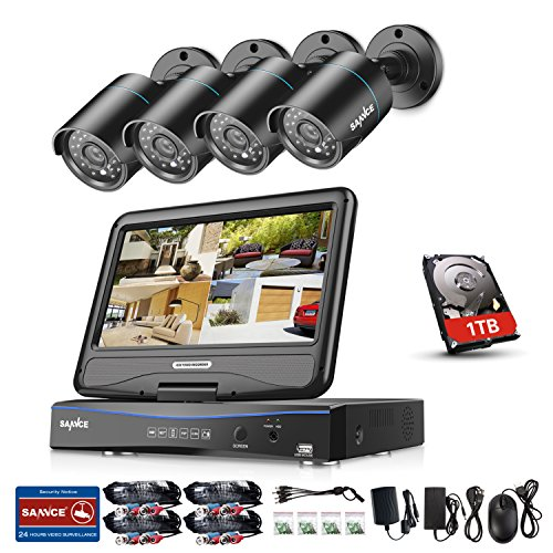 Sannce 4CH 720P HD Security DVR Recorder, 1TB HDD+ 10.1-inch LCD Screen Monitor Build-in, w/ 4 1.0MP Outdoor CCTV Cameras System, Hi-Resolution, All-in-one Hybrid HVR NVR DVR, Plug n Play, Email Alert