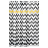 InterDesign Chevron Duschvorhang Textil | pflegeleichter Duschvorhang aus Stoff mit verstärkten Löchern | Badewannenvorhang mit Zickzack-Muster | Polyester grau/gelb