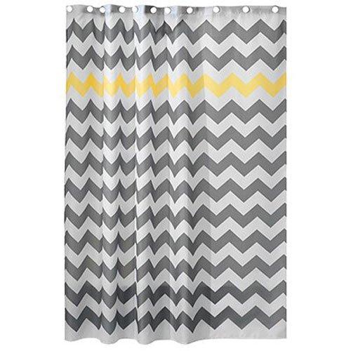 InterDesign Chevron Fabric Shower Curtain, 183 X 183 Cm   Yellow/Gray