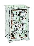 HAKU, Mobiletto con 4 cassetti, stile Vintage, con scritte in inglese, 27942, 28 x 35 x 60 cm, Multicolore (Bunt)