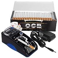 JeVx Maquina Liadora de Tabaco Electrica + 200 Tubos con Filtro OCB Entubadora para Cigarrillos Cigarros para Fumar (Azul)