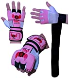 Boom Prime Pink Damen Neopren Boxen Innen Gel-Handschuhe Fight Boxsack MMA Training Knöchelprotektor Bandagen Muay Thai Pad (Kostenloser UK Versand), damen, rose